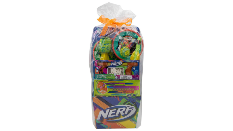 A Nerf-themed Easter basket includes a marshmallow shooter, splash ball, and paddle ball.