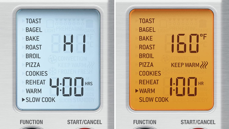 Screenshots of the Breville Smart Oven Pro control panel.
