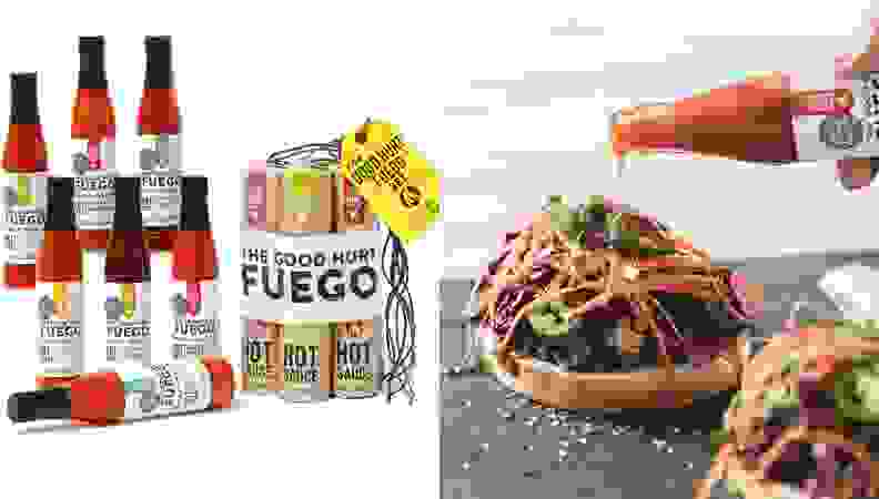 Product images featuring a plethora of hot sauce bottles and sauce being added to a burger.