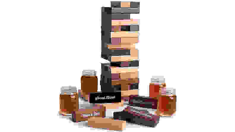Polished Wood Stacking Game with Shot Glasses