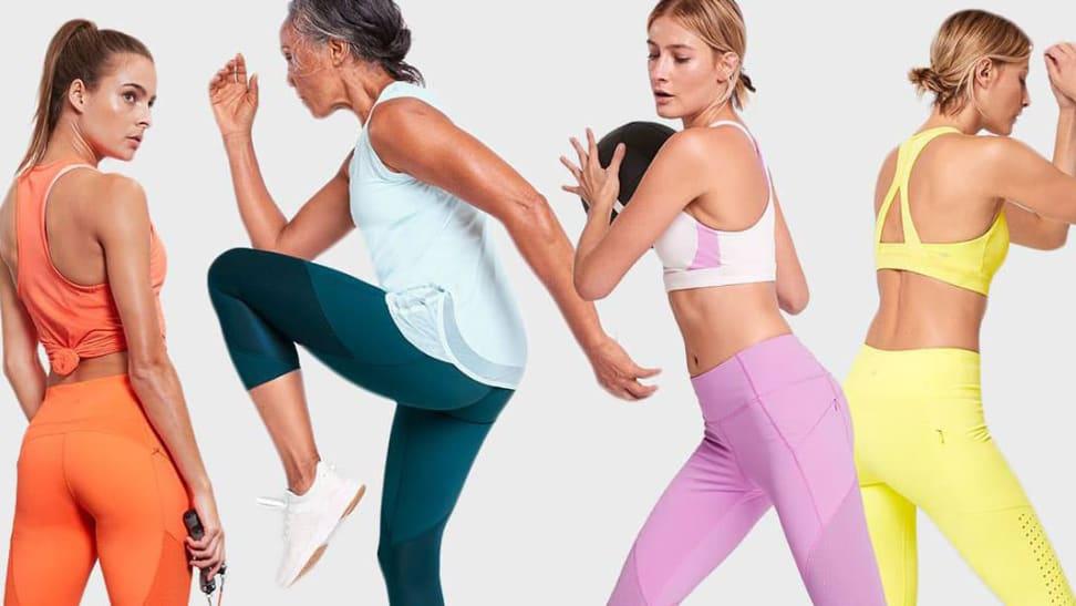 Women wearing athleta leggings