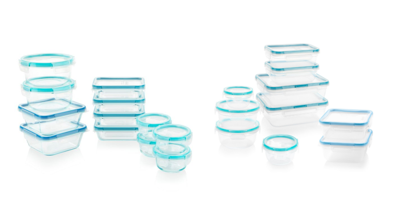 Two sets of Pyrex storage containers, one made of glass and one made of plastic, sit next to one another on a white background.