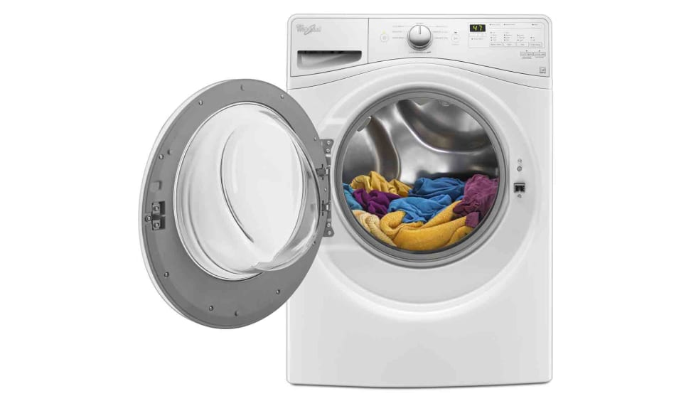 The Whirlpool WFW75Hefw is a front-loader with a simple, sleek design