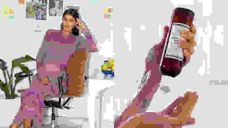 On the left: The founder of Ceremonia sitting in a chair. On the right: A hand holding a bottle of Ceremonia shampoo upside down and squeezing it into the other hand.