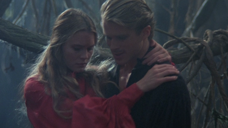 A still from 'The Princess Bride' featuring Buttercup and Westley
