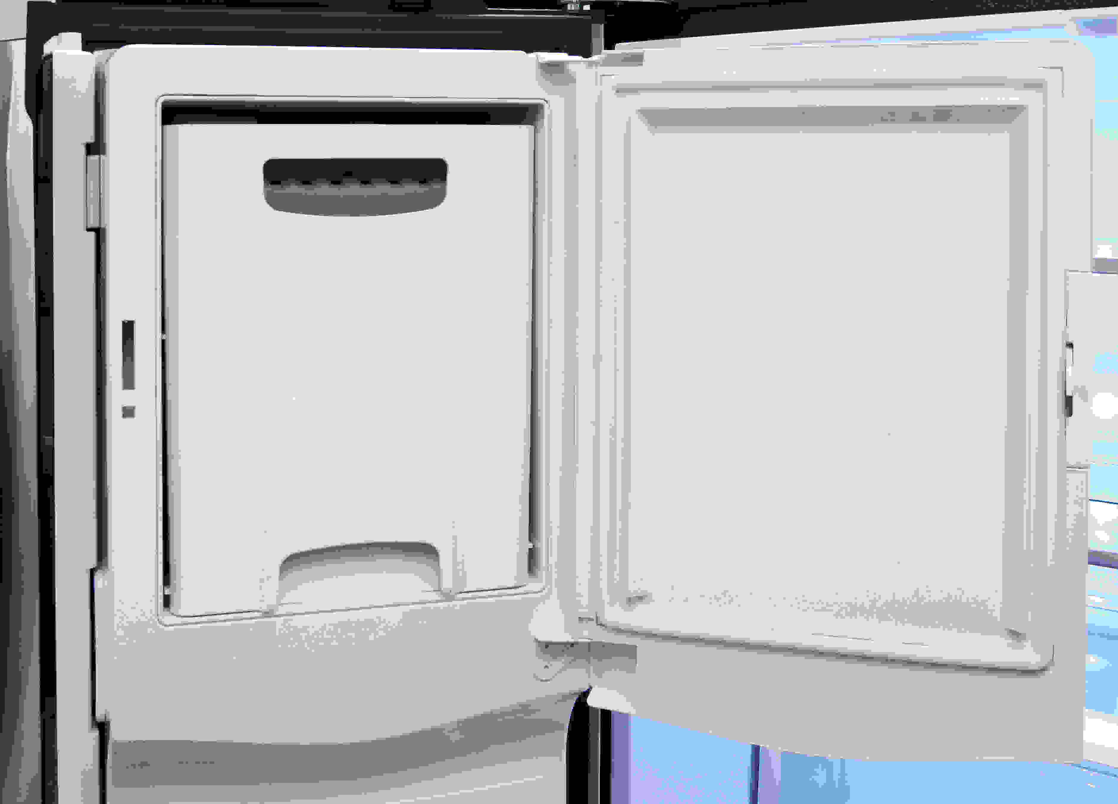 The GE Cafe CFE28TSHSS's tall, door-mounted icemaker is easy to access, and holds plenty of ice.