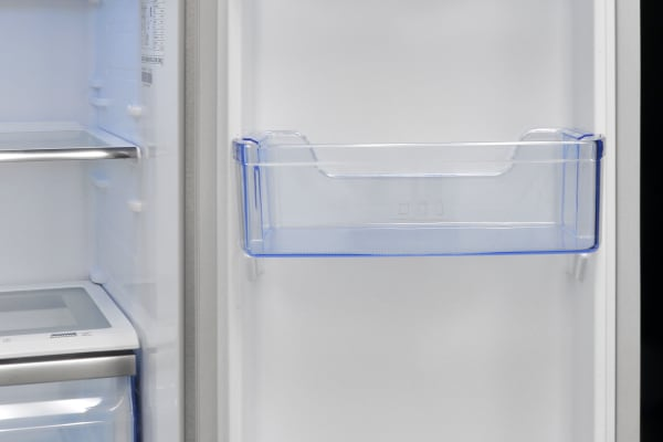 The Hisense RF20N6ASE's right door has two more shelves, as well as a dairy bin.
