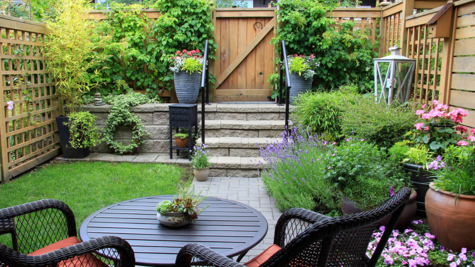 Small outdoor yard space with patio furniture and vibrant flowers.
