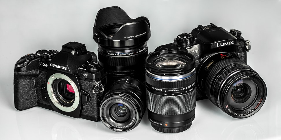 A variety of Micro Four Thirds cameras and lenses