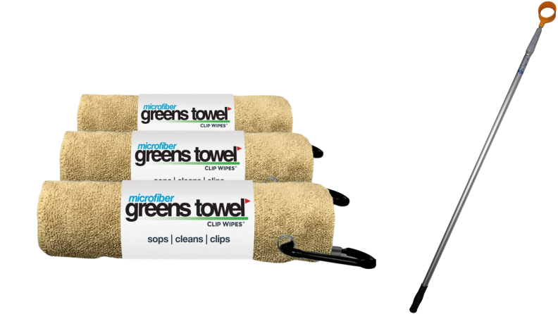 A stack of three yellow microfiber towels and a ball retriever.