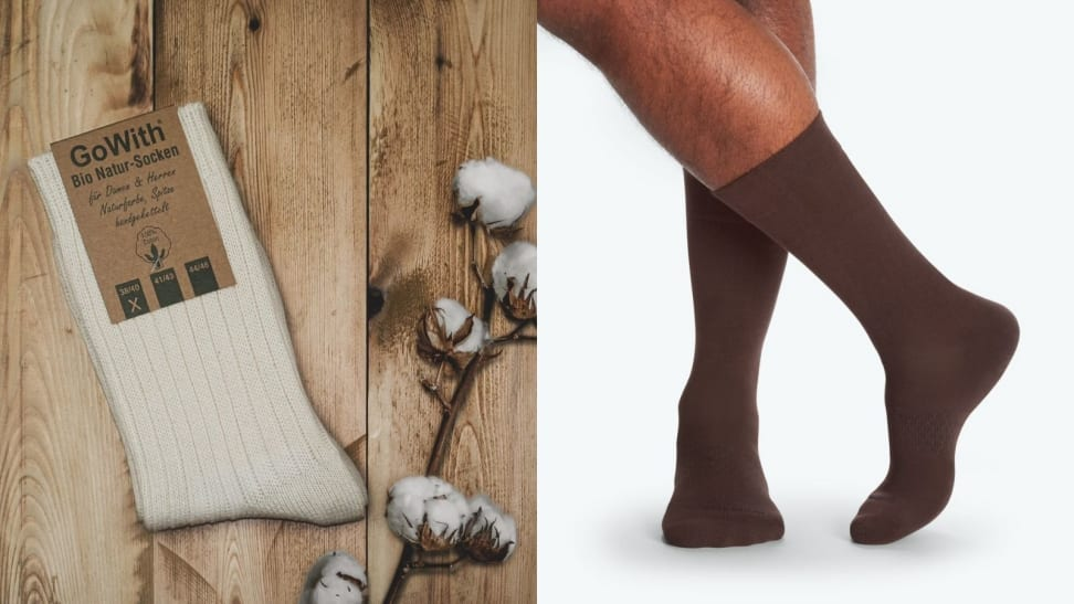 Natural and un-dyed cotton socks from seller GoWith on Etsy, man standing in a pair of brown Bombas socks.