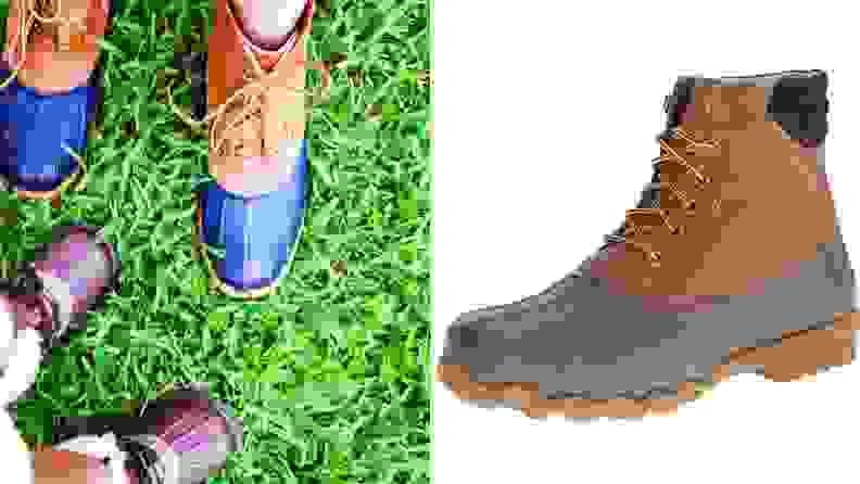 Closeups of duck boots.