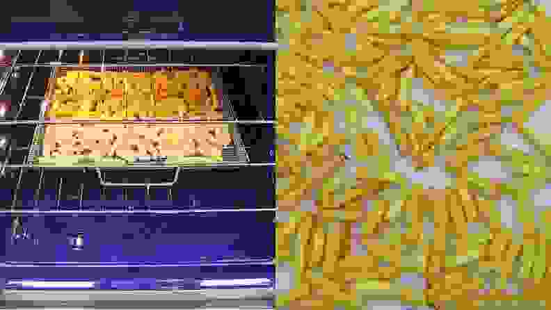 Side by side photos of French fries air frying in an electric oven and the final crispy fries.