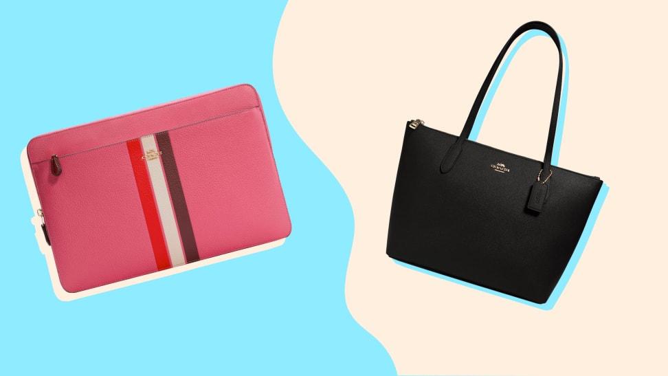 A pink Coach wallet and a black Coach shoulder bag.