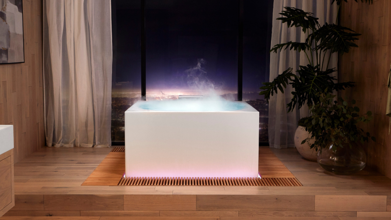 A free-standing tub in a spa.