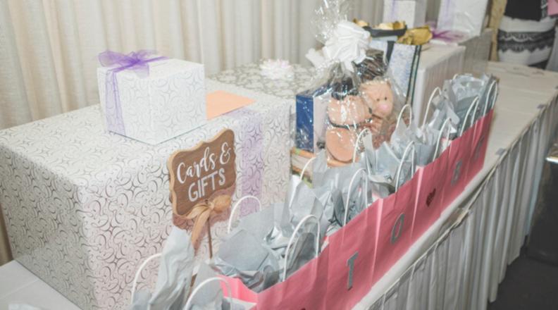 Wedding presents on gift table