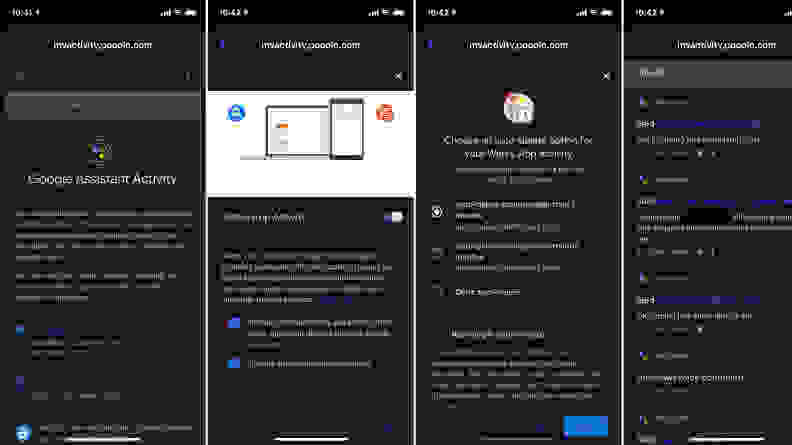 Assistant app settings screenshots