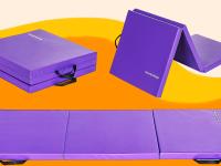 Three images of a purple yoga mat unfolding.