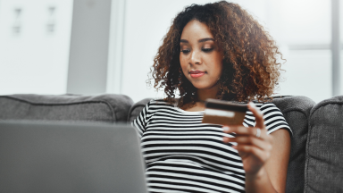 Woman researching credit card facts