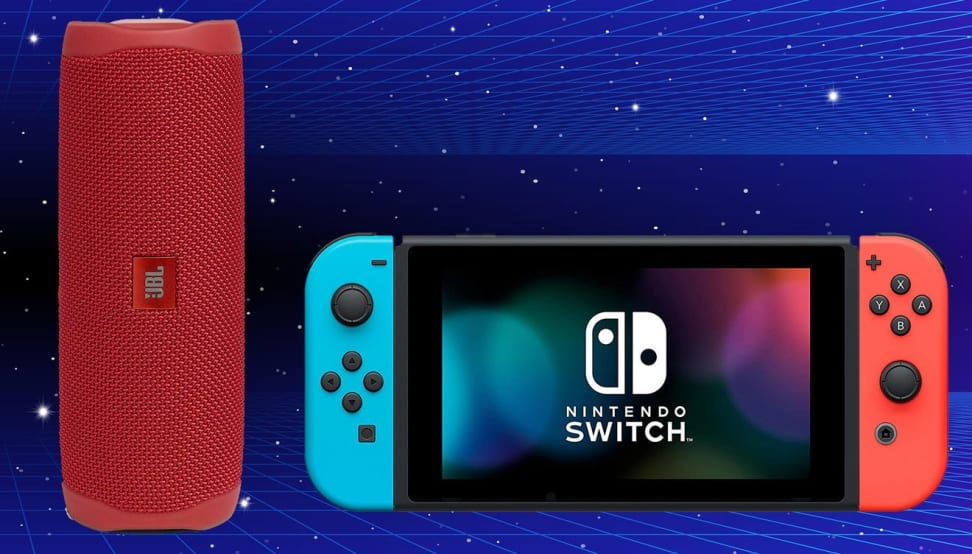 A portable Blutooth speaker and Nintendo Switch against a blue background.