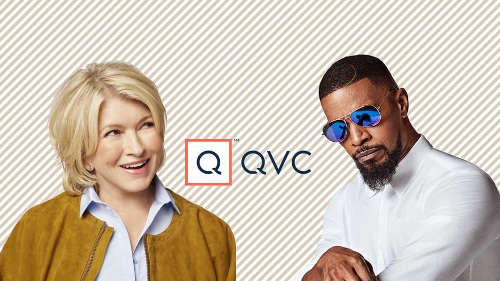 Martha stewart and Jamie Foxx on striped background with QVC Logo