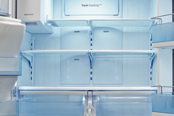 The shallow nature of a counter-depth means are the Samsung RF23HTEDBSR's shelves are very accessible.