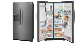 Two Frigidaire Gallery GRSC2352AF refrigerators standing next to each other in a white void. The fridge on the left has its doors closed and the fridge on the right has its door open, showcasing the interior.