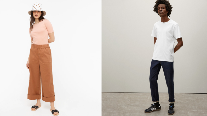 On left, woman wearing peach colored cotton t-shirt and skirt. On right, man wearing white cotton t-shirt and jeans.