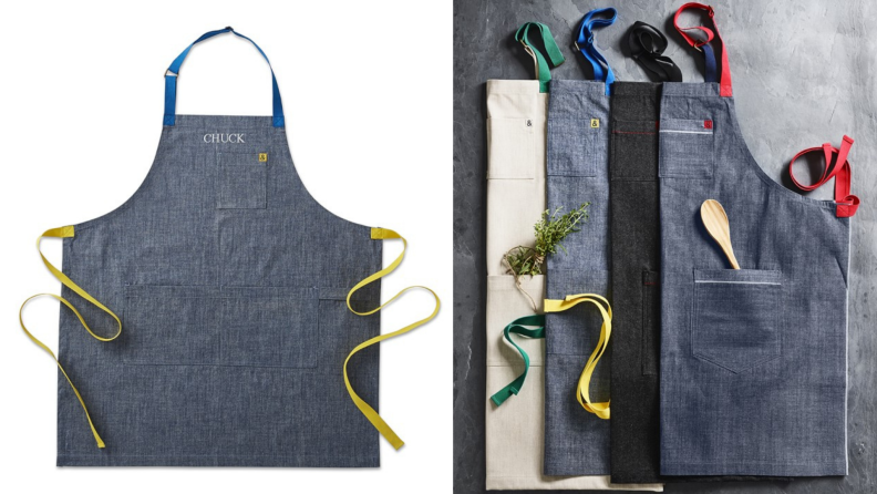 Left: apron on white backdrop, right: multiple folded aprons stack together