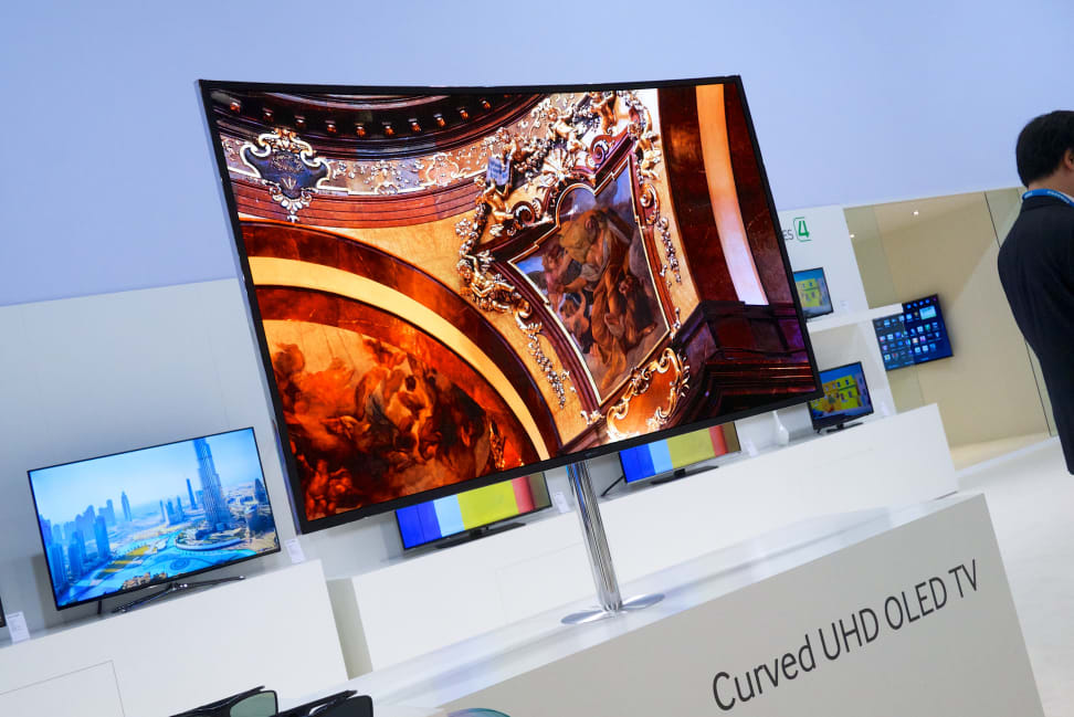 A curved Samsung OLED UHD TV