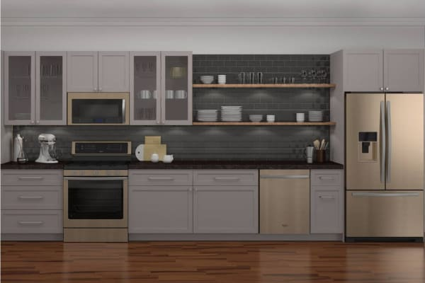 Sunset Bronze in a kitchen with white cabinets