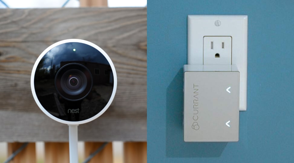 The Nest Cam Outdoor is pictured next to the Currant Smart Outlet.