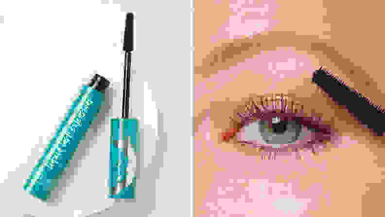 On the left: A tube of the Thrive Causemetics mascara with the wand sitting next to it. On the right: A person's eye with mascara on it.