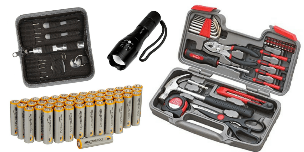 Amazon sells AA batteries, a tool kit, a flashlight and a cell phone kit.