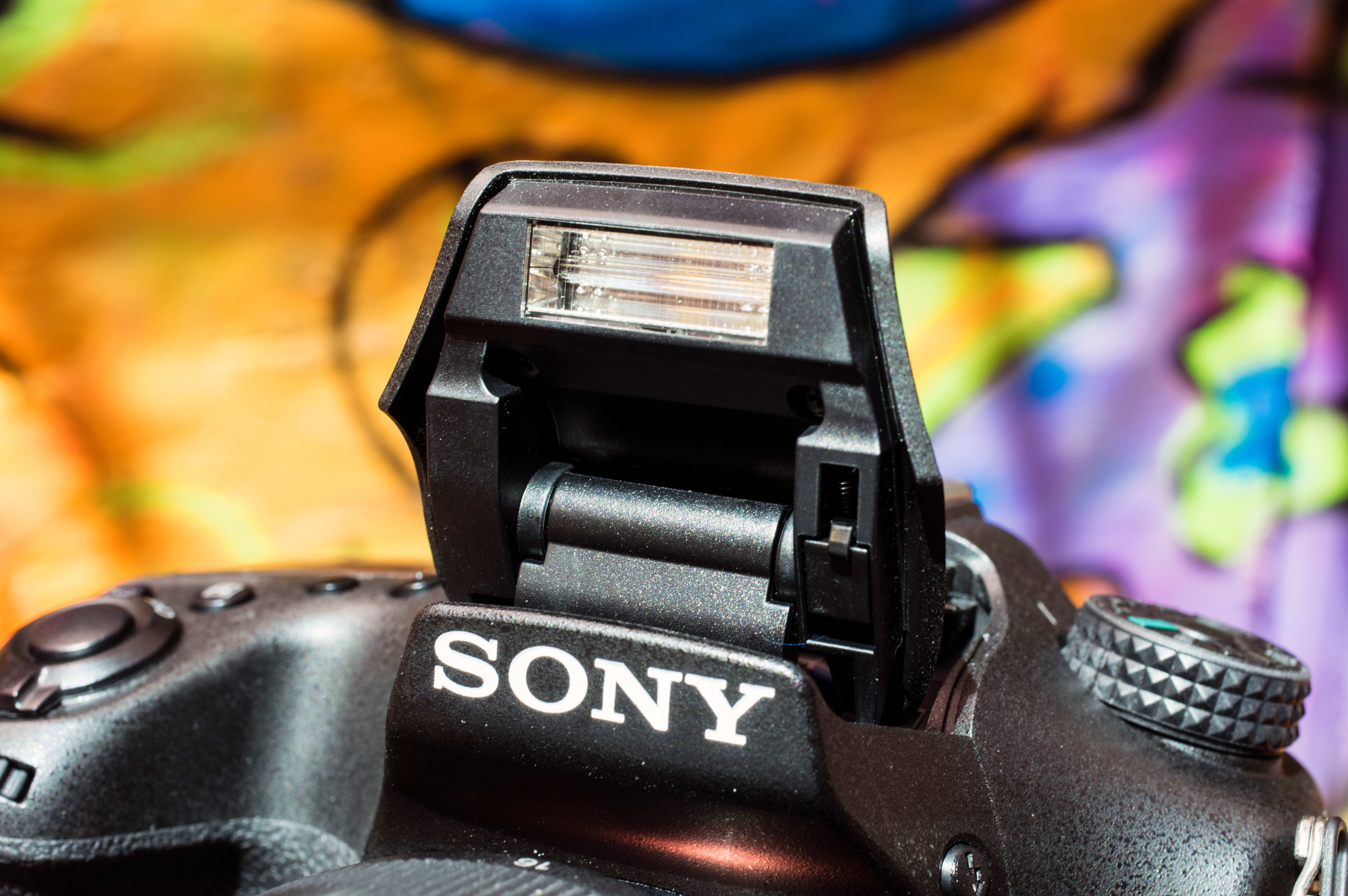 The Sony A77 II come with a built in flash.