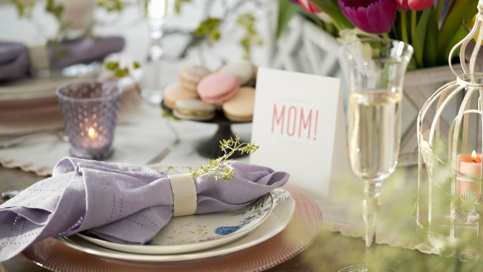 A table set for Mother's Day brunch.