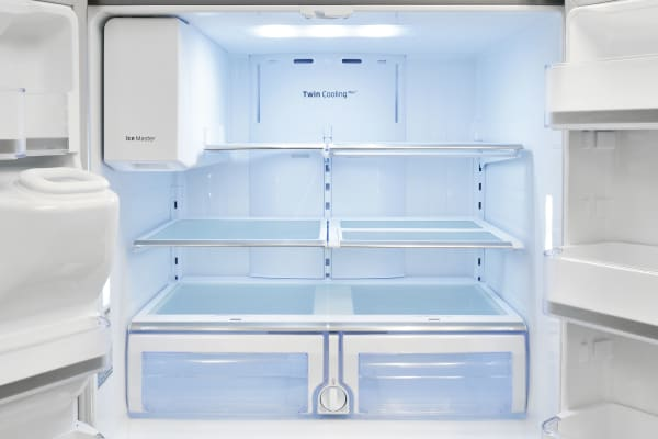 Bright LED lights and silvery trim on the shelves make the Samsung RF28HMEDBSR's spacious fridge an attractive one.