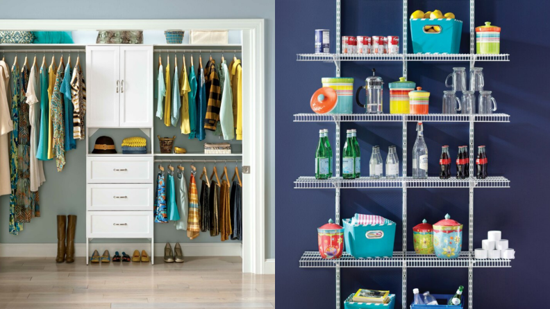 On right, well organized closet. On left, kitchen organizer stocked with pantry items.