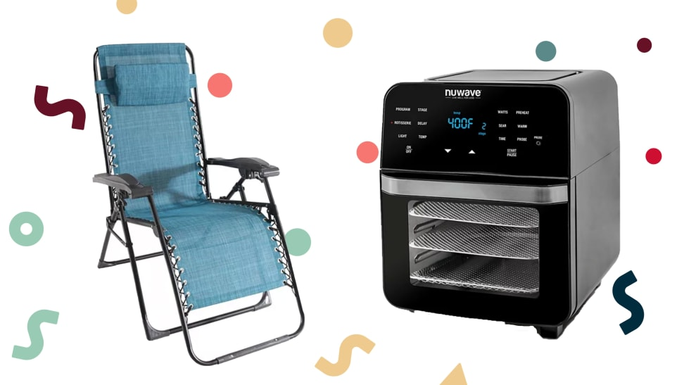 A blue antigravity chair and an air fryer on a colorful background.