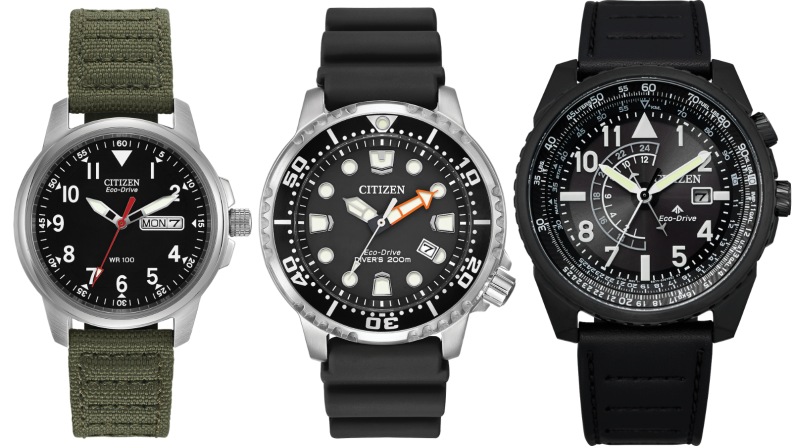 a field, diver, and pilot watch from Citizen