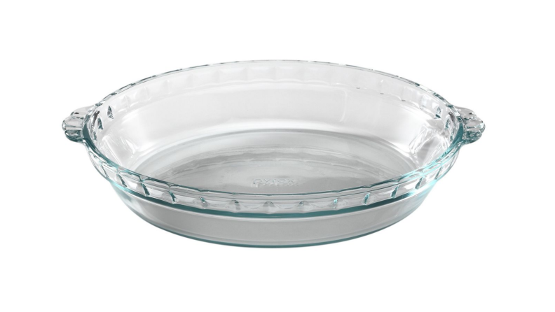 An image of a clear Pyrex pie pan on a white background.