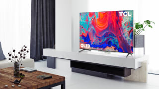 The TCL 5-Series with Google TV displaying content in a living room setting