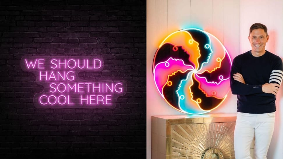 Left: 'We Should Hang Something Cool Here' pink neon sign; Right: Jonathan Adler standing beside large circular LED sign