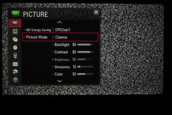 The LB 42LB5800's picture menu