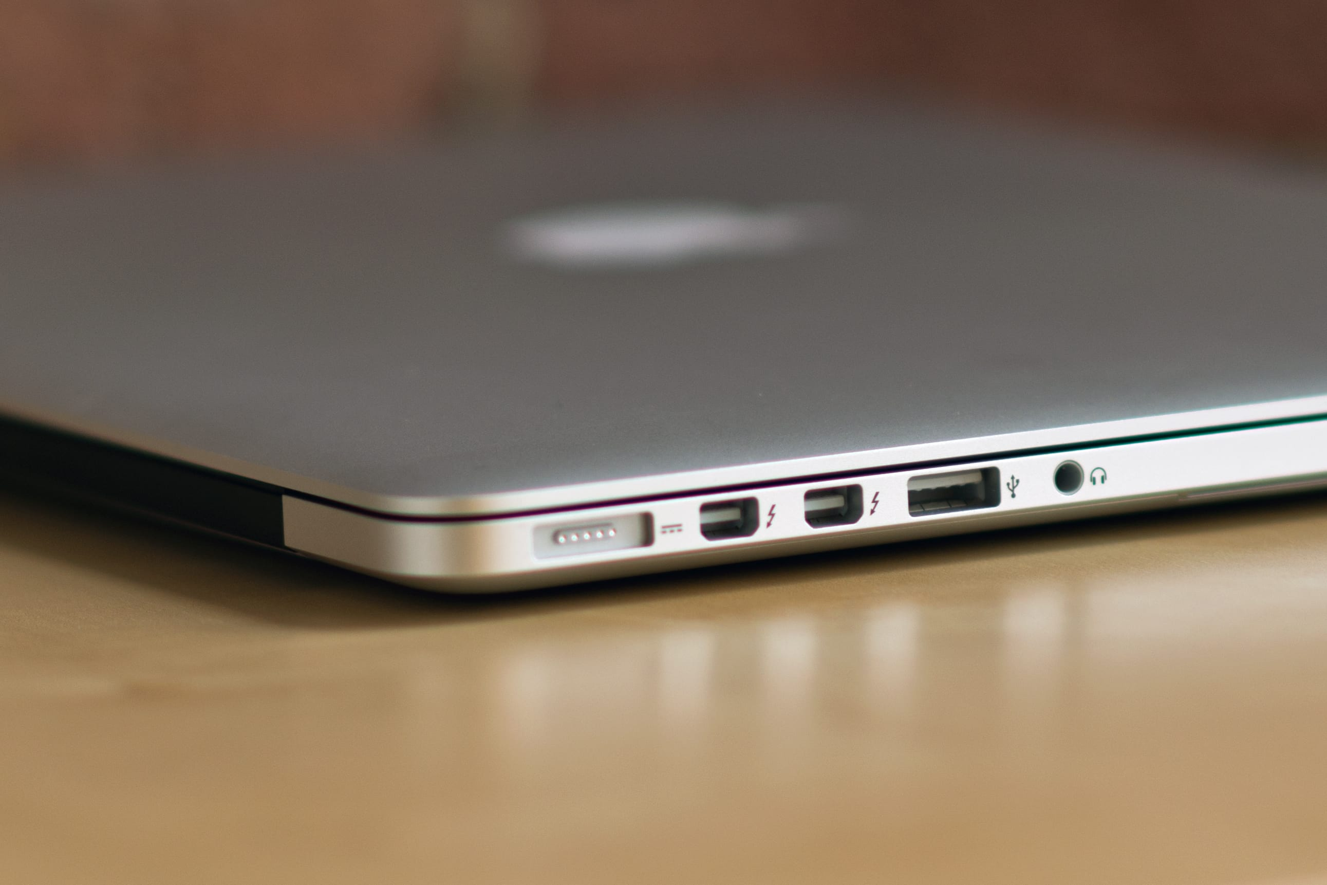 A picture of the Apple MacBook Pro with Retina Display's ports.