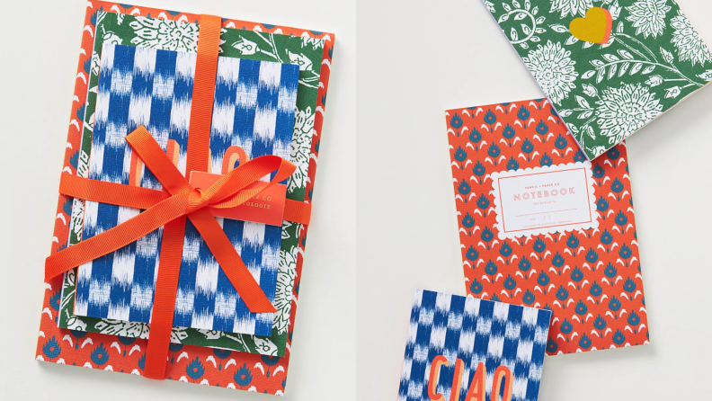 On left, stack of multi-colored journals wrapped in orange bow from Anthropologie. On right, three multi-colored journals scattered from Anthropololgie.