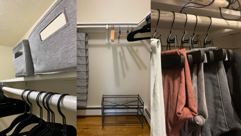 On left, gray storage bins on top shelf of closet. In middle, empty closet with storage options inside. On right, pants hung on wooden hangers.