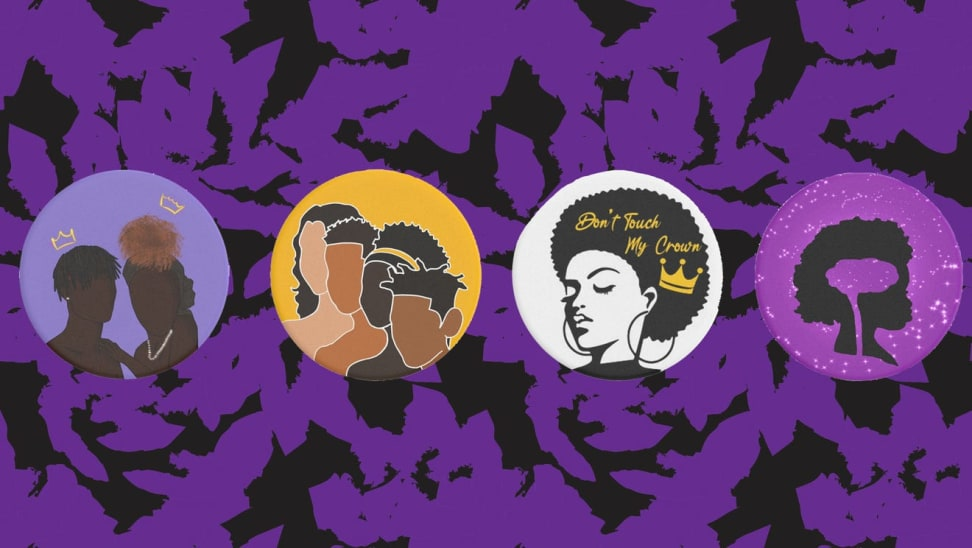 Four PopSockets on a black and purple background
