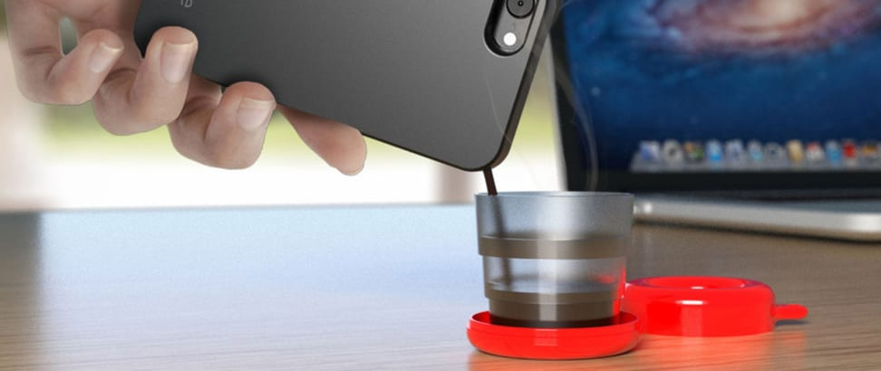 This smartphone case uses a special cartridge to brew coffee.