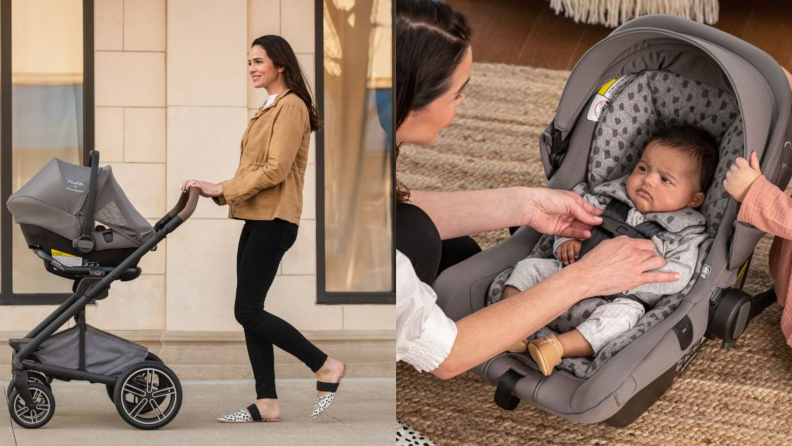 On left, person walking while pushing stroller on street. On right, infant in car seat.